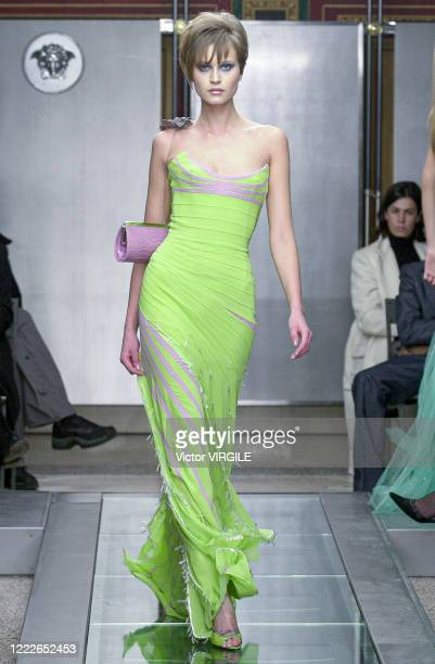 Model walks the runway during the Versace Haute Couture Spring/Summer 2000 fashion show as part of the Paris Haute Couture Fashion Week on January...