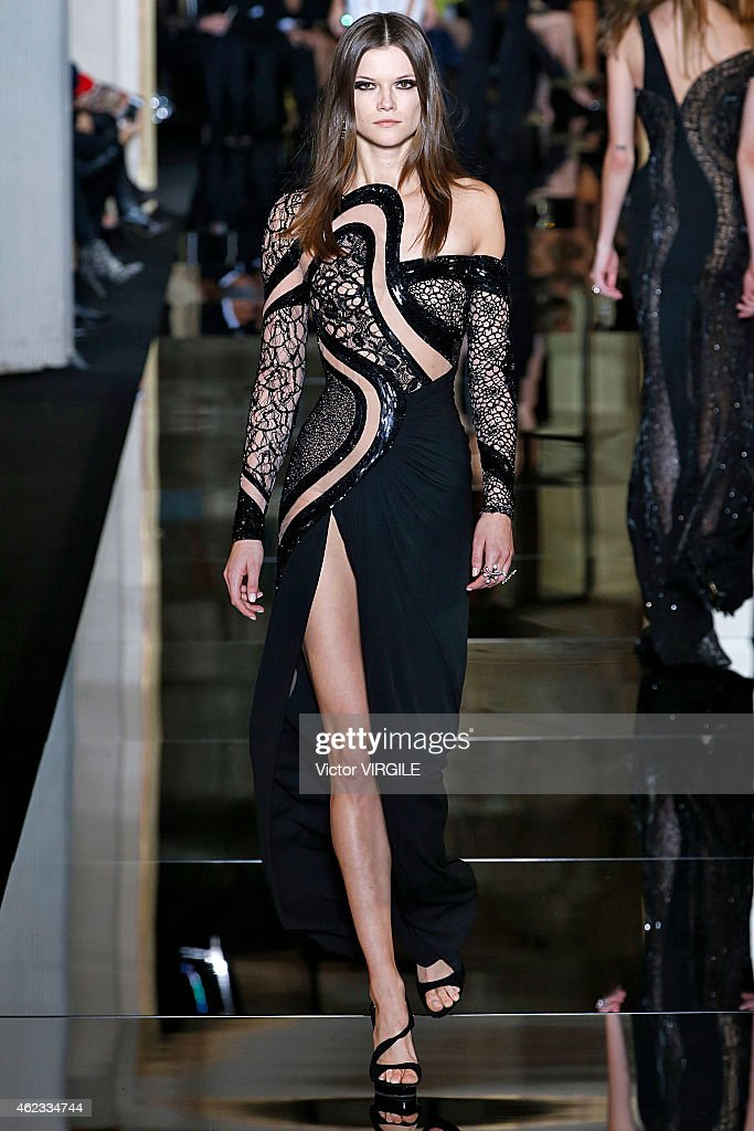 A model walks the runway during the Versace show as part of Paris Fashion Week Haute Couture Spring/Summer 2015 on January 25, 2015 in Paris, France.