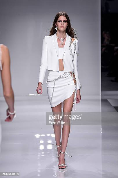 Model walks the runway during the Versace Spring Summer 2016 show as part of Paris Fashion Week on January 24, 2016 in Paris, France.