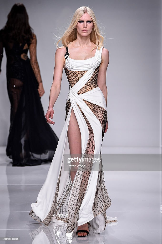 A model walks the runway during the Versace Spring Summer 2016 show as part of Paris Fashion Week on January 24, 2016 in Paris, France.
