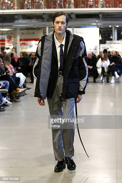 A model walks the runway during the Vetements designed by Demna Gvasalia Spring Summer 2017 show as part of Paris Fashion Week on January 24 2017 in...