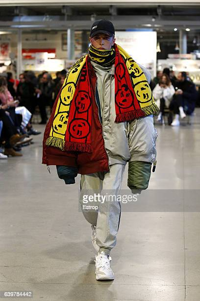 Model walks the runway during the Vetements designed by Demna Gvasalia Spring Summer 2017 show as part of Paris Fashion Week on January 24, 2017 in...