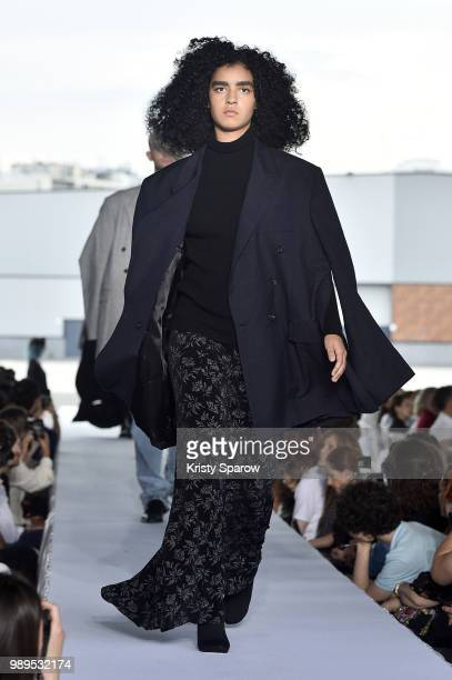 Model walks the runway during the Vetements Haute Couture Fall Winter 2018/2019 show as part of Paris Fashion Week on July 1, 2018 in Paris, France.
