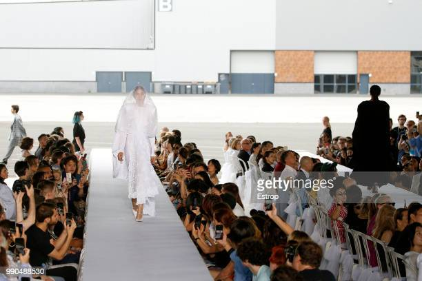 A model walks the runway during the Vetements Haute Couture Fall Winter 2018/2019 show as part of Paris Fashion Week on July 1 2018 in Paris France