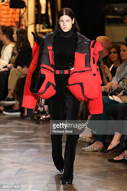 Model walks the runway during the Vetements Haute Couture Fall/Winter 2016-2017 show as part of Paris Fashion Week on July 3, 2016 in Paris, France.
