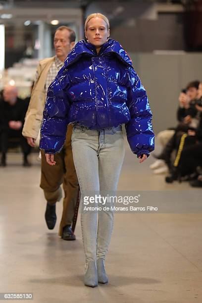A model walks the runway during the Vetements Haute Couture Spring Summer 2017 show as part of Paris Fashion Week on January 24 2017 in Paris France