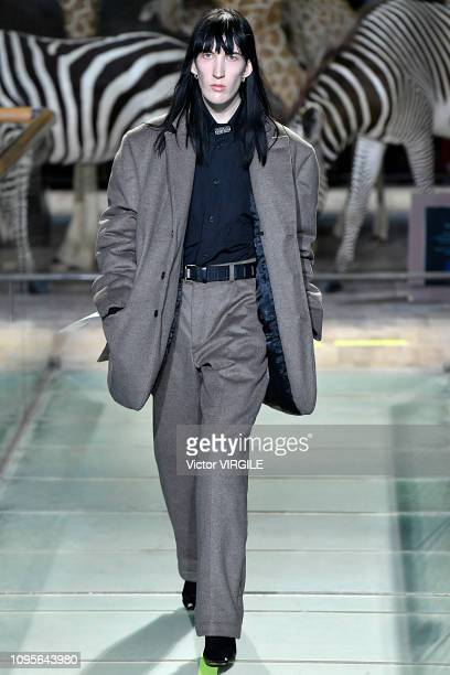 Model walks the runway during the Vetements Menswear Fall/Winter 2019-2020 fashion show as part of Paris Fashion Week on January 17, 2019 in Paris,...
