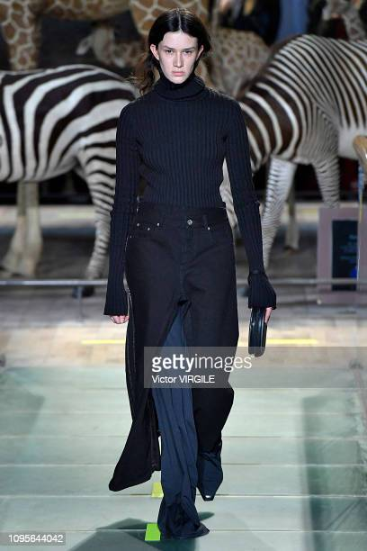 A model walks the runway during the Vetements Menswear Fall/Winter 20192020 fashion show as part of Paris Fashion Week on January 17 2019 in Paris...