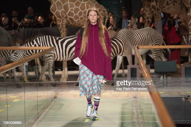 Model walks the runway during the Vetements Menswear Fall/Winter 2019-2020 show as part of Paris Fashion Week on January 17, 2019 in Paris, France.