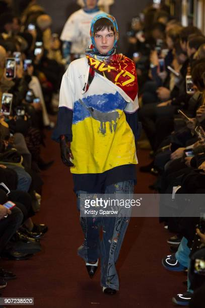 Model walks the runway during the Vetements Menswear Fall/Winter 2018-2019 show as part of Paris Fashion Week on January 19, 2018 in Saint-Ouen,...