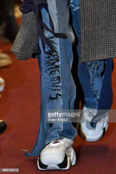A model walks the runway during the Vetements Menswear Fall/Winter 20182019 show as part of Paris Fashion Week on January 19 2018 in Paris France