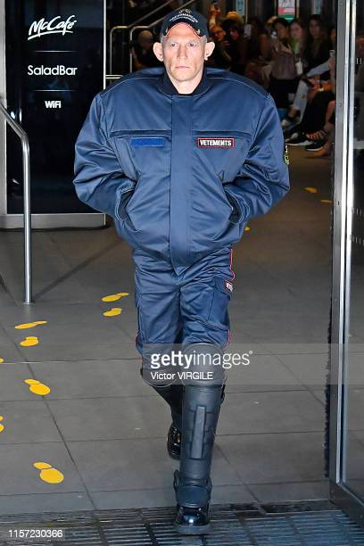 Model walks the runway during the Vetements Menswear Spring Summer 2020 fashion show as part of Paris Fashion Week on June 20, 2019 in Paris, France.