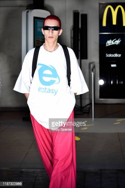 Model walks the runway during the Vetements Menswear Spring Summer 2020 show as part of Paris Fashion Week on June 20, 2019 in Paris, France.