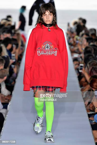Model walks the runway during the Vetements Ready to Wear Spring/Summer 2019 fashion show as part of Paris Fashion Week on July 1, 2018 in Paris,...