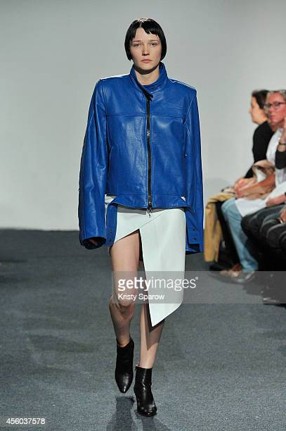 Model walks the runway during the Vetements show as part of Paris Fashion Week Womenswear Spring/Summer 2015 on September 24, 2014 in Paris, France.