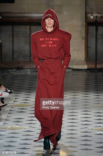 Model walks the runway during the Vetements show as part of Paris Fashion Week Womenswear Fall/Winter 2016/2017 on March 3, 2016 in Paris, France.
