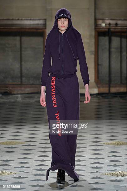 A model walks the runway during the Vetements show as part of Paris Fashion Week Womenswear Fall/Winter 2016/2017 on March 3 2016 in Paris France