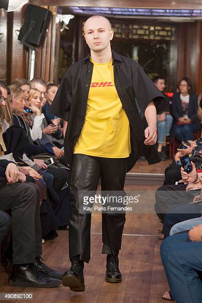 Model walks the runway during the Vetements show as part of the Paris Fashion Week Womenswear Spring/Summer 2016 on October 1, 2015 in Paris, France.