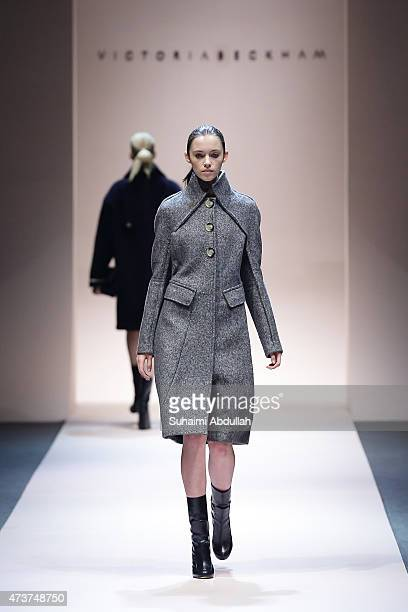 A model walks the runway during the Victoria Beckham Autumn/Winter 2015 collection show at Singapore Fashion Week 2015 on May 17 2015 in Singapore...