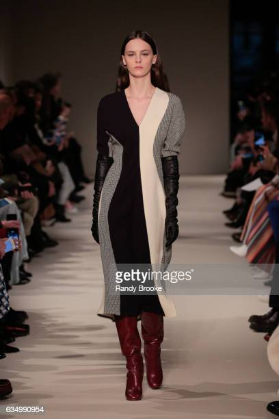 A model walks the runway during the Victoria beckham February 2017 New York Fashion Week on February 12 2017 in New York City