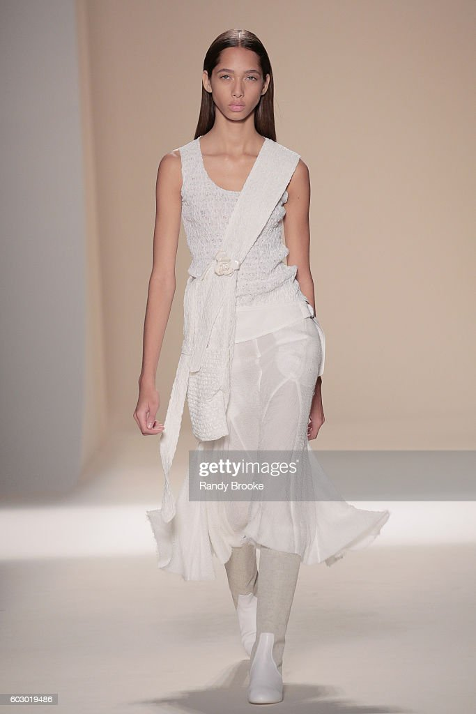 A model walks the runway during the Victoria Beckham September 2016 New York Fashion Week Spring 2017 season at The Cunard Building on September 11, 2016 in New York City.