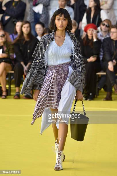 A model walks the runway during the Victoria/Tomas show as part of Paris Fashion Week Womenswear Spring/Summer 2019 on September 25 2018 in Paris...