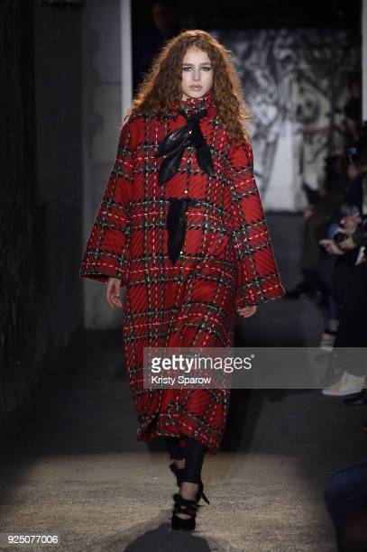 A model walks the runway during the Victoria/Tomas show as part of Paris Fashion Week Womenswear Fall/Winter 2018/2019 on February 27 2018 in Paris...