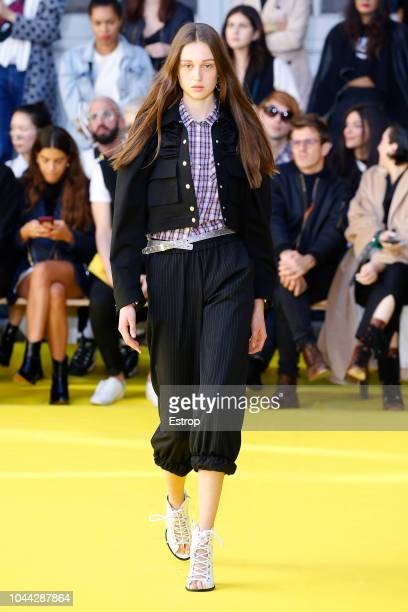 A model walks the runway during the Victoria/Tomas show as part of the Paris Fashion Week Womenswear Spring/Summer 2019 on September 25 2018 in Paris...