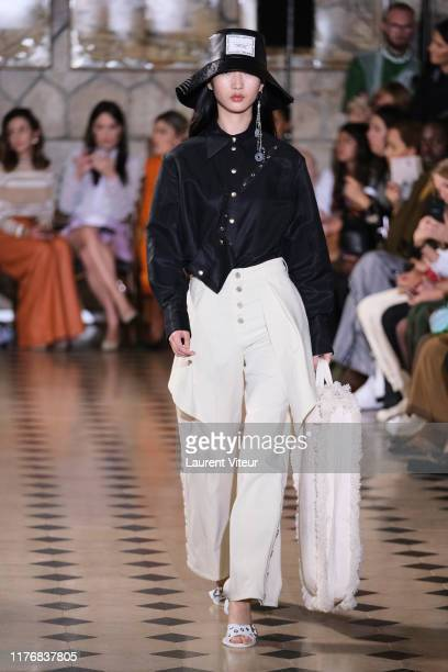 A model walks the runway during the Victoria/Tomas Womenswear Spring/Summer 2020 show as part of Paris Fashion Week At Faust on September 24 2019 in...