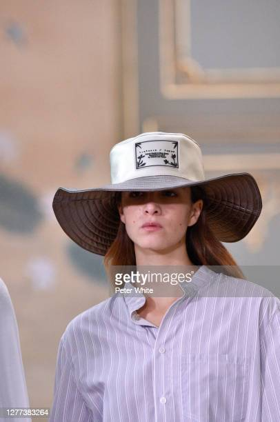 Model walks the runway during the Victoria/Tomas Womenswear Spring/Summer 2021 show as part of Paris Fashion Week on September 29, 2020 in Paris,...