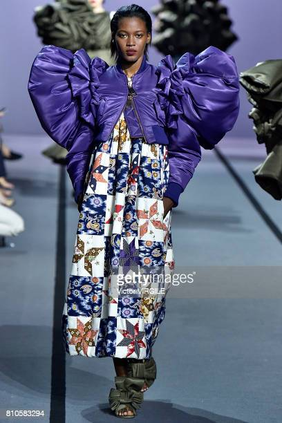 A model walks the runway during the Viktor Rolf Haute Couture Fall/Winter 20172018 show as part of Haute Couture Paris Fashion Week on July 5 2017 in...