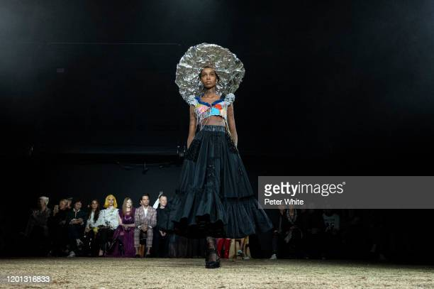 Model walks the runway during the Viktor & Rolf Haute Couture Spring/Summer 2020 show as part of Paris Fashion Week on January 22, 2020 in Paris,...