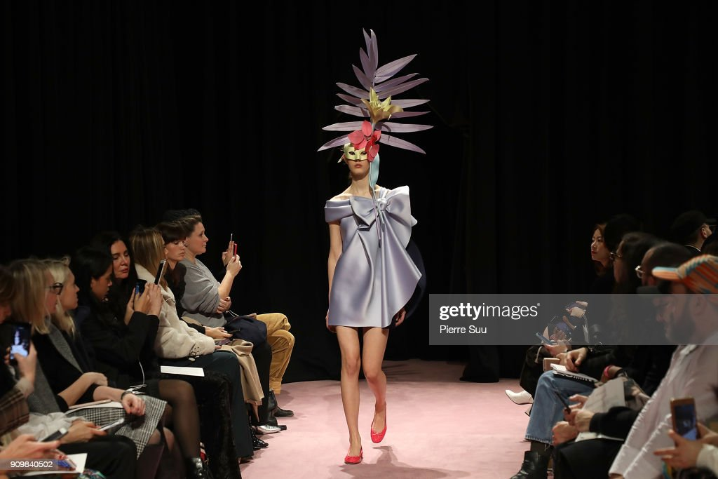 A model walks the runway during the Viktor & Rolf Spring Summer 2018 show as part of Paris Fashion Week on January 24, 2018 in Paris, France.