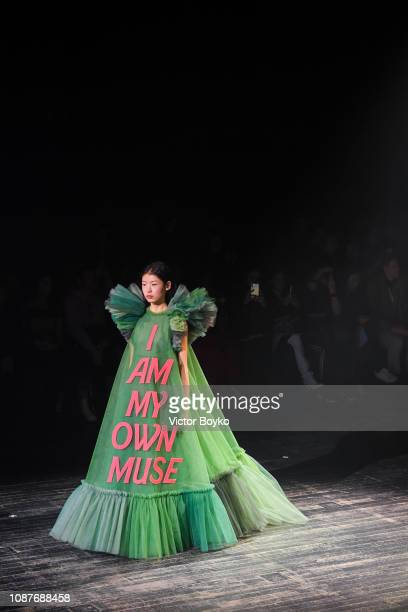 Model walks the runway during the Viktor & Rolf Spring Summer 2019 show as part of Paris Fashion Week on January 23, 2019 in Paris, France.