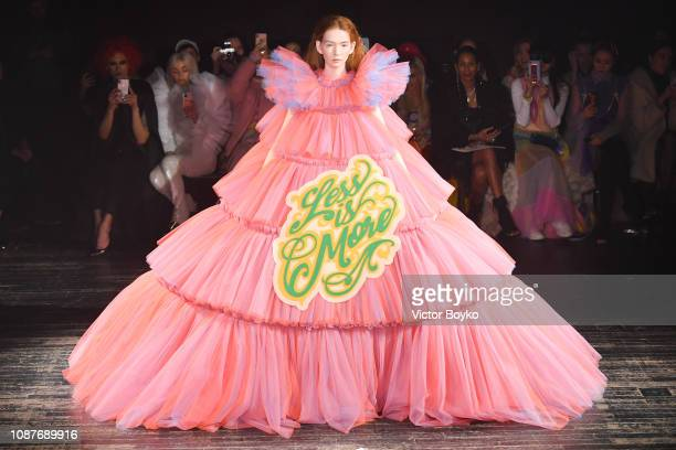 A model walks the runway during the Viktor Rolf Spring Summer 2019 show as part of Paris Fashion Week on January 23 2019 in Paris France