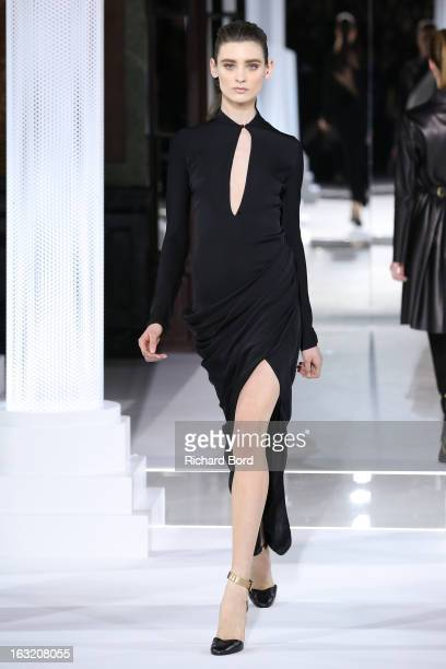 A model walks the runway during the Vionnet Fall/Winter 2013 ReadytoWear show as part of Paris Fashion Week at Intercontinental Paris Le Grand Hotel...