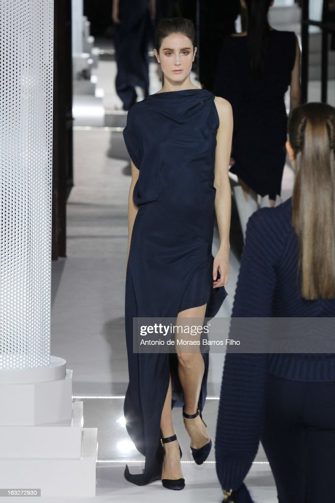 A model walks the runway during the Vionnet Fall/Winter 2013 Ready-to-Wear show as part of Paris Fashion Week on March 6, 2013 in Paris, France.