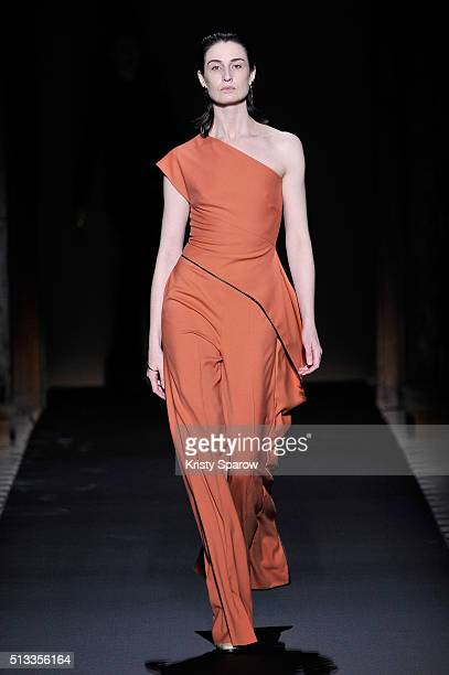 A model walks the runway during the Vionnet show as part of Paris Fashion Week Womenswear Fall/Winter 2016/2017 on March 2 2016 in Paris France