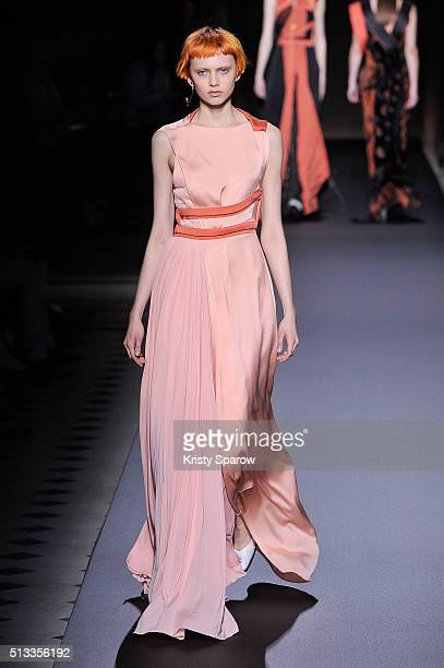 Model walks the runway during the Vionnet show as part of Paris Fashion Week Womenswear Fall/Winter 2016/2017 on March 2, 2016 in Paris, France.