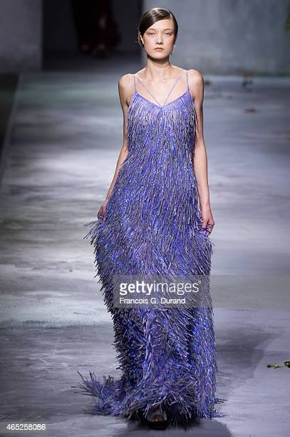 Model walks the runway during the Vionnet show as part of the Paris Fashion Week Womenswear Fall/Winter 2015/2016 on March 4, 2015 in Paris, France.