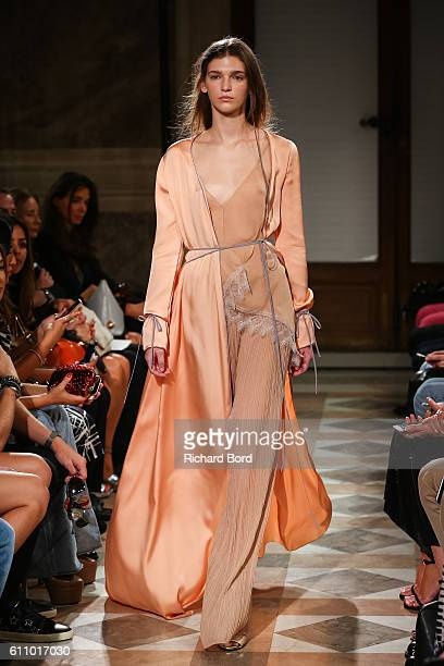 A model walks the runway during the Vionnet show as part of the Paris Fashion Week Womenswear Spring/Summer 2017 on September 28 2016 in Paris France
