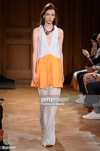 Model walks the runway during the Vionnet show as part of the Paris Fashion Week Womenswear Spring/Summer 2017 on September 28, 2016 in Paris, France.