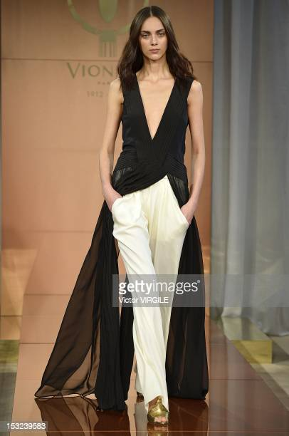 Model walks the runway during the Vionnet Spring / Summer 2013 show as part of Paris Fashion Week at on September 27, 2012 in Paris, France.