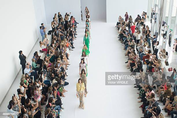 A model walks the runway during the Vivaz show as part of the Minas Trend Preview Fashion Week Spring/Summer 2016 on April 07 2015 in Belo Horizonte...