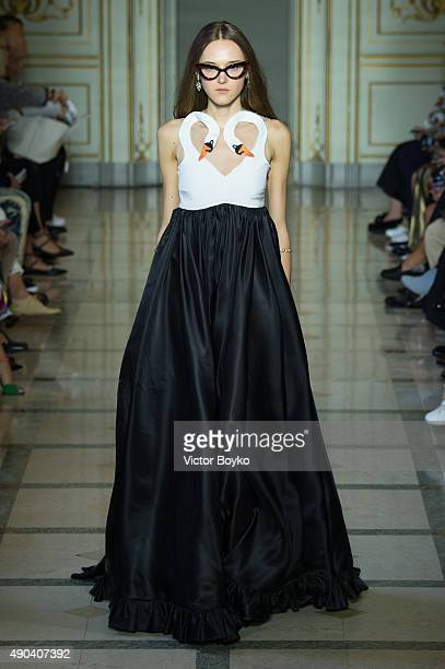 Model walks the runway during the Vivetta fashion show as part of Milan Fashion Week Spring/Summer 2016 on September 28, 2015 in Milan, Italy.