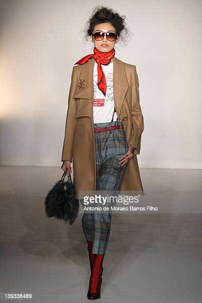 Model walks the runway during the Vivienne Westwood Autumn/Winter 2012 show at London Fashion Week at Goldsmiths' Hall on February 19, 2012 in...