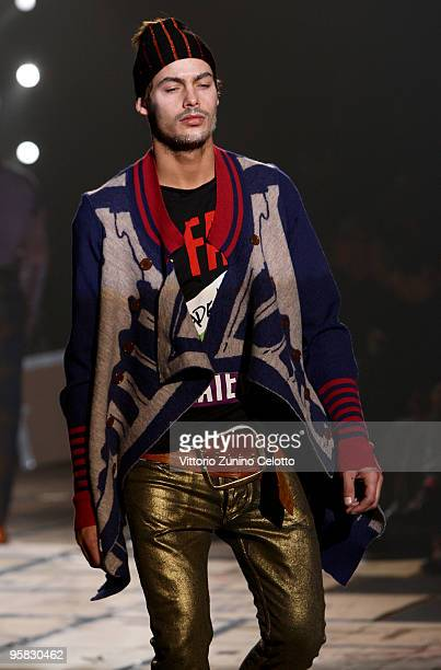 Model walks the runway during the Vivienne Westwood Milan Menswear Autumn/Winter 2010 show on January 17, 2010 in Milan, Italy.