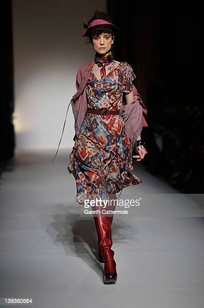 Model walks the runway during the Vivienne Westwood Red Label show as part of London Fashion Week Autumn/Winter 2012 at My Beautiful Fashion on...