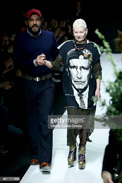 A model walks the runway during the Vivienne Westwood show as a part of Milan Menswear Fashion Week Fall Winter 2015/2016 on January 18 2015 in Milan...