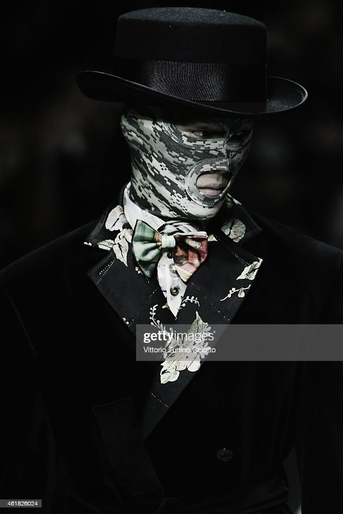 A model walks the runway during the Vivienne Westwood Show as a part of Milan Menswear Fashion Week Fall Winter 2015/2016 on January 18, 2015 in Milan, Italy.